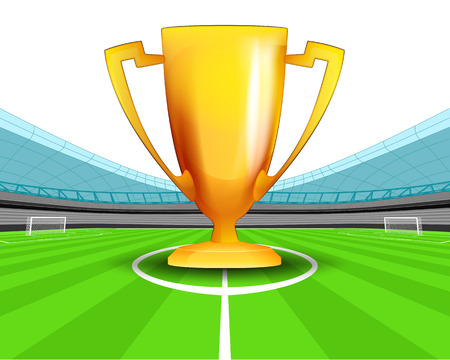 champion cup in the midfield of football stadium vector illustration Vector