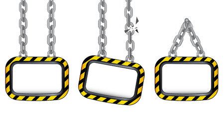 black and yellow: isolated hanged chain board black yellow striped set vector template illustration