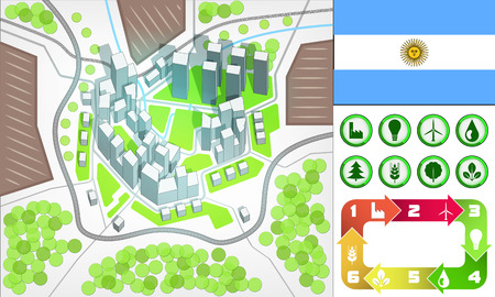 environmental city map and icons set with Argentina flag vector illustration Vector