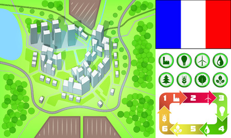 environmental city map and icons set with France flag vector illustration Vector