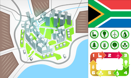 environmental city map and icons set with South Africa flag vector illustration Vector