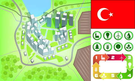 environmental city map and icons set with Turkey flag vector illustration Vector