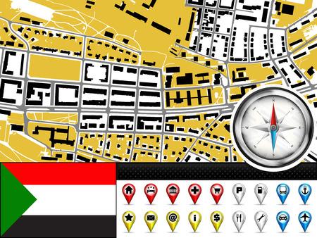 vector city map navigation label set with Sudan flag illustration Vector