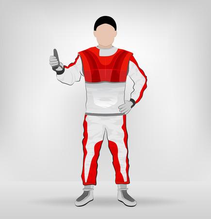 red overall standing racer hands on waist vector illustration Vector