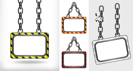 on chain hanged board concept collection vector illustration Vector