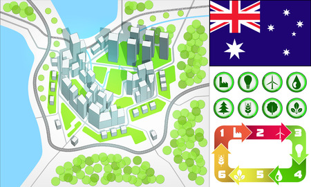 environmental city map and icons set with Australia flag vector illustration Vector