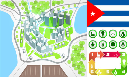environmental city map and icons set with Cuba flag vector illustration Vector