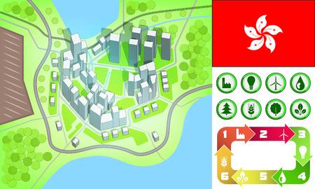 hong kong street: environmental city map and icons set with Hong Kong flag vector illustration