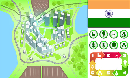 india city: environmental city map and icons set with India flag vector illustration