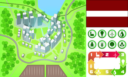 environmental city map and icons set with Latvia flag vector illustration Vector