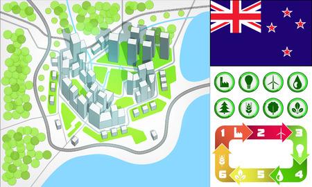 new zealand flag: mappa della citt� ambientale e impostare le icone con la Nuova Zelanda bandiera vector illustration