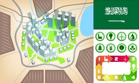 environmental city map and icons set with Saudi Arabia flag vector illustration Vector