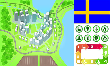 environmental city map and icons set with Sweden flag vector illustration Vector