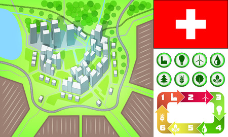 environmental city map and icons set with Switzerland flag vector illustration Vector