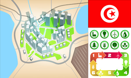environmental city map and icons set with Tunisia flag vector illustration Vector