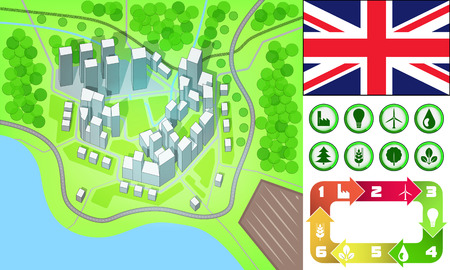 environmental city map and icons set with UK flag vector illustration Vector
