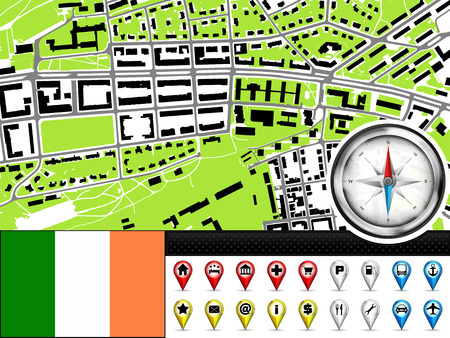 ireland flag: vector city map navigation label set with Ireland flag illustration