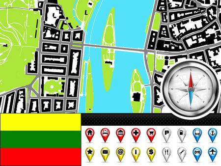 lithuania flag: vector city map navigation label set with Lithuania flag illustration