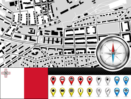 malta cities: vector city map navigation label set with Malta flag illustration