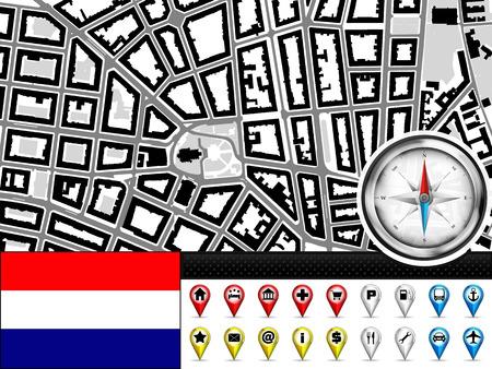 vector city map navigation label set with Netherlands flag illustration Vector