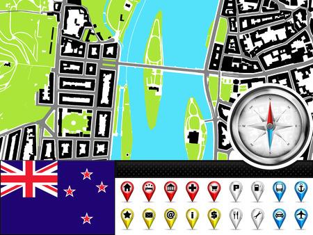 new zealand flag: citt� vettore etichetta mappa di navigazione impostato con la Nuova Zelanda bandiera illustrazione
