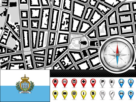 marino: vector city map navigation label set with San Marino flag illustration