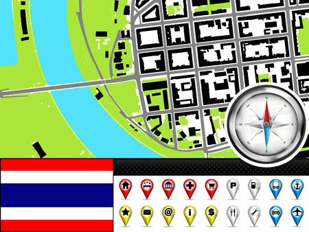 vector city map navigation label set with Thailand flag illustration Vector