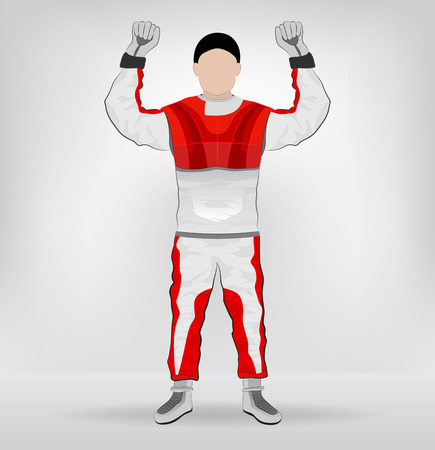 red overall standing racer hands in air vector illustration Vector