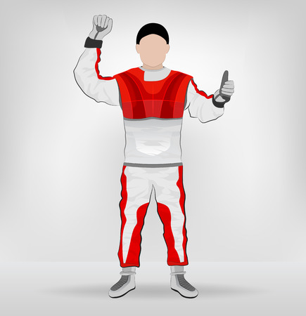 red overall standing racer one hand in air illustration Vector