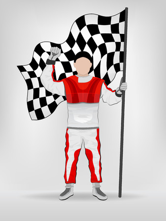 checked flag: racer in red overall holding checked flag with hand up vector illustration Illustration