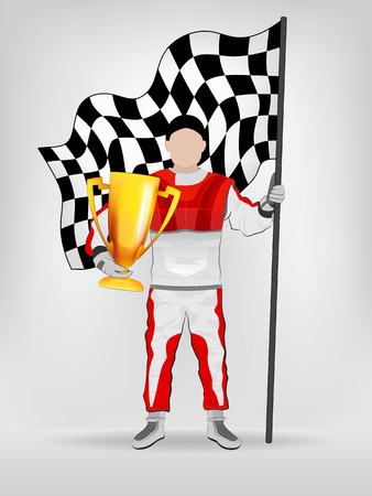 checked flag: racer in red overall holding checked flag and trophy vector illustration