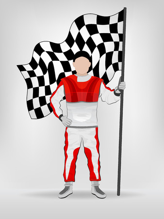 checked flag: racer in red overall holding checked flag with hand on waist vector illustration