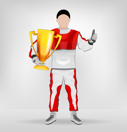 standing racer holding cup with thumb up vector illustration Vector