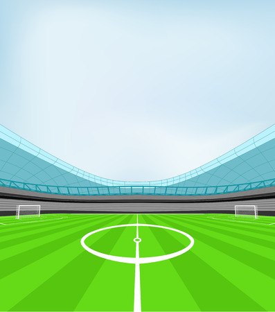 winning pitch: stadium midfield view with blue clear sky vector illustration