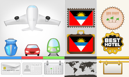 vector traveling and transport collection as trip to Antigua Barbuda illustration Vector