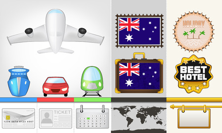 vector traveling and transport collection as trip to Australia illustration Vector