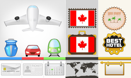 vector traveling and transport collection as trip to Canada illustration Vector