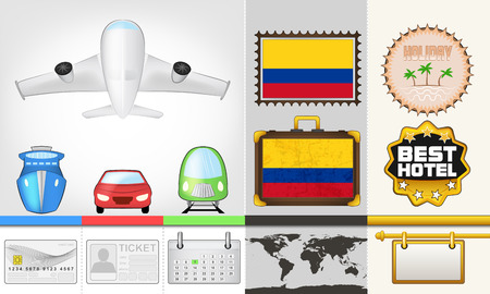 vector traveling and transport collection as trip to Colombia illustration Vector