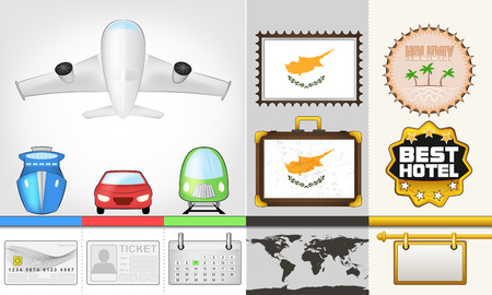 vector traveling and transport collection as trip to Cyprus illustration Vector