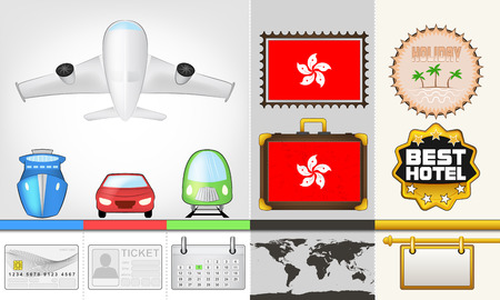 vector traveling and transport collection as trip to Hong Kong illustration Vector