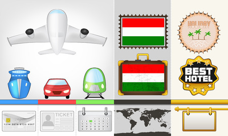 vector traveling and transport collection as trip to Hungary illustration Vector