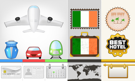 vector traveling and transport collection as trip to Ireland illustration Vector