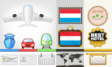 vector traveling and transport collection as trip to Luxembourg illustration Vector