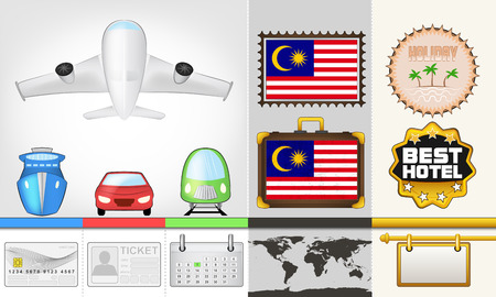 vector traveling and transport collection as trip to Malaysia illustration Vector