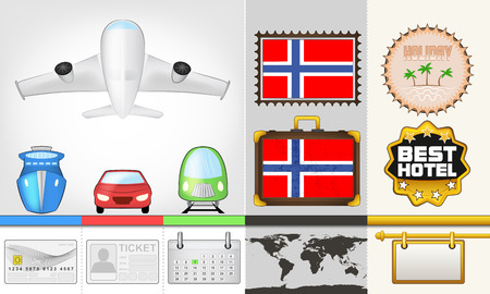 vector traveling and transport collection as trip to Norway illustration Vector