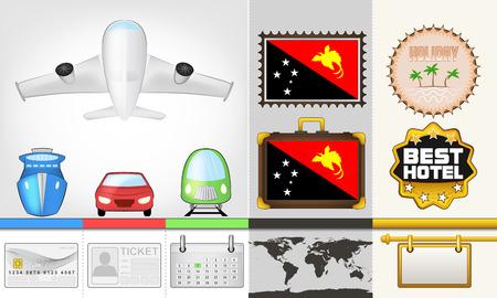 papouasie: vecteur de d�placement et de collecte des transports voyage en Papouasie-Nouvelle-Guin�e illustration