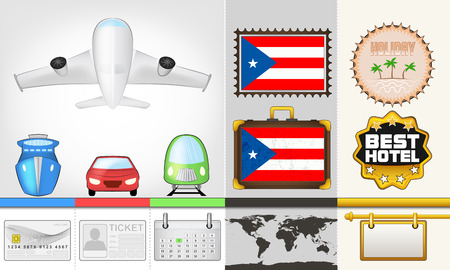 vector traveling and transport collection as trip to Puerto Rico illustration Vector
