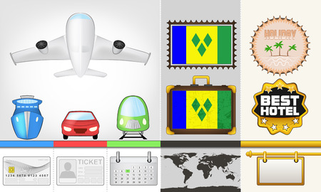 grenadines: vector traveling and transport collection as trip to Saint Vincents and Grenadines illustration
