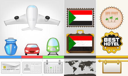 sudan: vector traveling and transport collection as trip to Sudan illustration