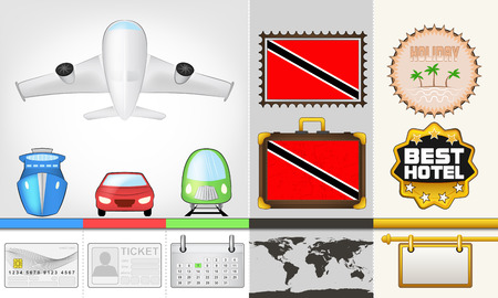 vector traveling and transport collection as trip to trinidad and tobago illustration Vector